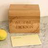 "Custom Recipe Box, Personalized Recipe Box, Engraved Bamboo""Mr. & Mrs."" Recipe Box"