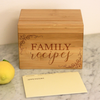 "Customized Recipe Box, Personalized Recipe Box, ""Family Cursive Recipes"" Recipe Box"