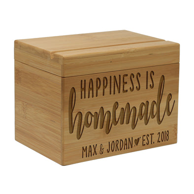 "Personalized Recipe Box, Engraved Recipe Box, Custom ""Happiness Is Handmade"" Personalized Recipe Box"