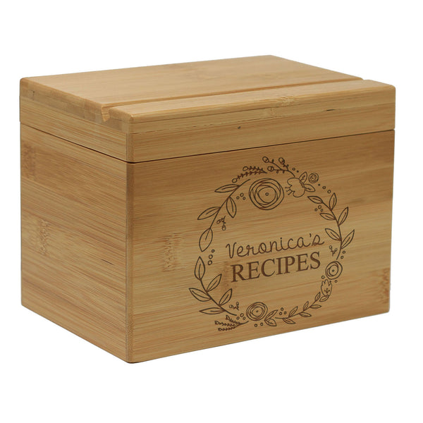 "Personalized Recipe Box, Custom Recipe Box, Customized ""Veronica's"" Recipe Box"