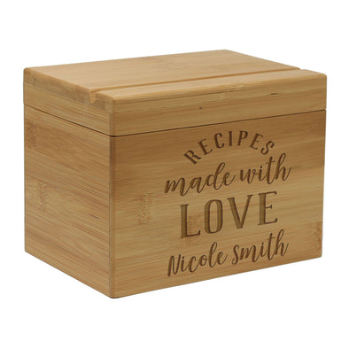 "Custom Recipe Box, Personalized Recipe Box, ""Recipes Made With Love"" Recipe Box"