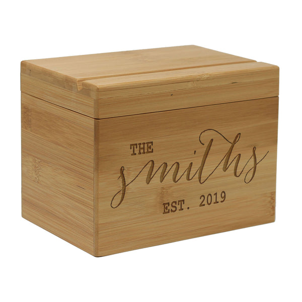 "Personalized Recipe Box, Custom Recipe Box, ""the Smiths"" Custom Recipe Box"