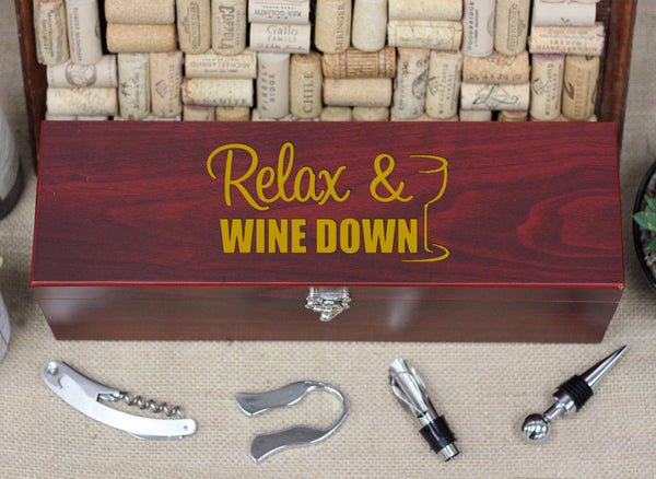Wine Box with Tools, Relax Wine Down
