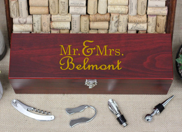 Wine Box with Tools, Mr. Mrs. Belmont
