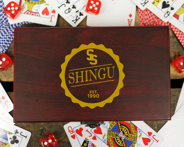 "Personalized Card and Dice Set - ""Vintage Badge"""