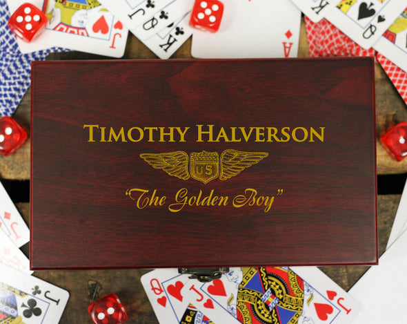 "Personalized Card and Dice Set - ""Winged Badge"""