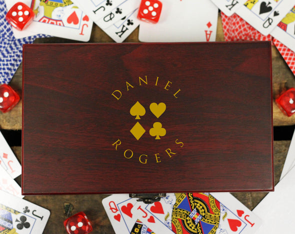 "Personalized Card and Dice Set - ""Daniel Rogers Suits"""
