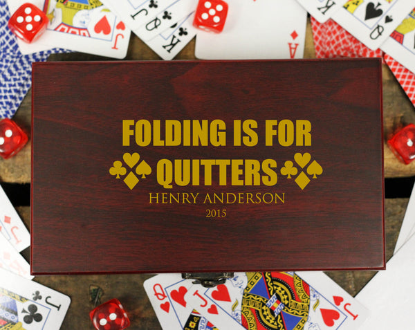 "Personalized Card and Dice Set - ""Folding is for Quitters"""