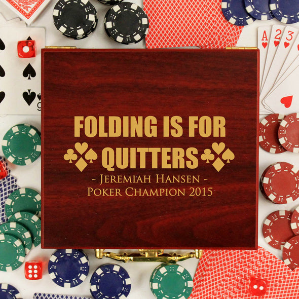 "Personalized Poker Set - ""Folding is for Quitters"""