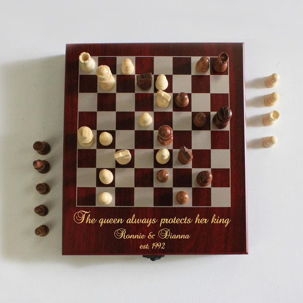 "Personalized Engraved Chess Set - ""Queen Protects King"""