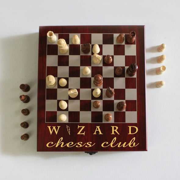 "Personalized Engraved Chess Set - ""Wizard Chess Club"""