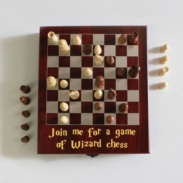 "Personalized Engraved Chess Set - ""Join me for Wizard Chess"""