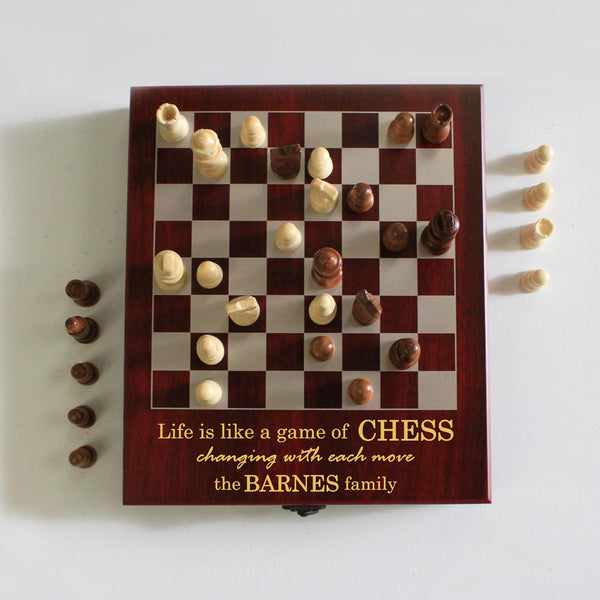 "Personalized Engraved Chess Set - ""Barnes Family"""