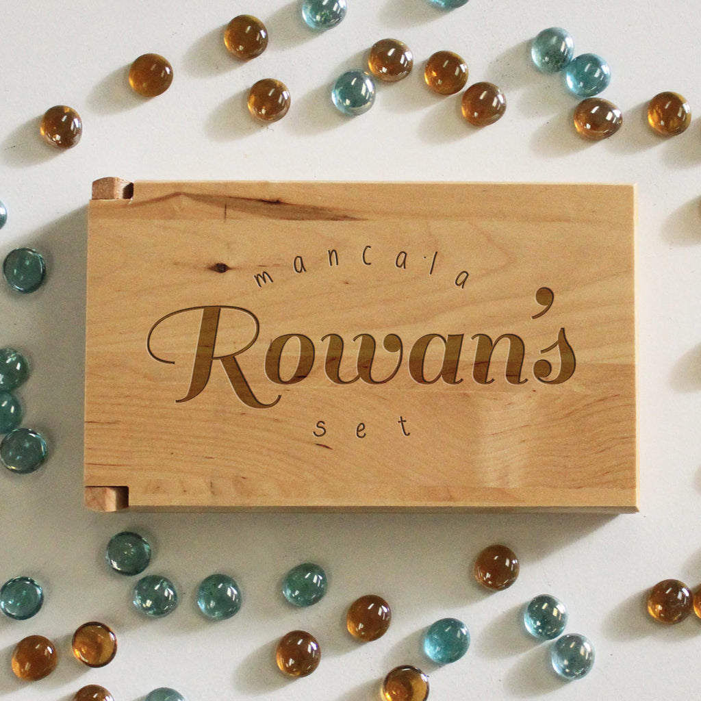"Personalized Engraved Mancala Set - ""Rowan's Mancala Set"""