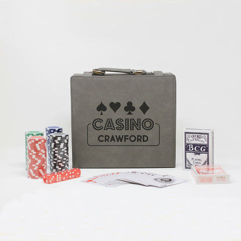 Casino Poker Set Personalized With Last Name