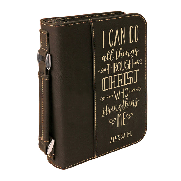 Personalized Bible Case, I Can Do All Things, Zip Cover, Custom Bible Cover,  Customized Bible Cover, Engraved Bible Cover, Bible Case, Inspirational Bible Cover, Scripture Bible Case