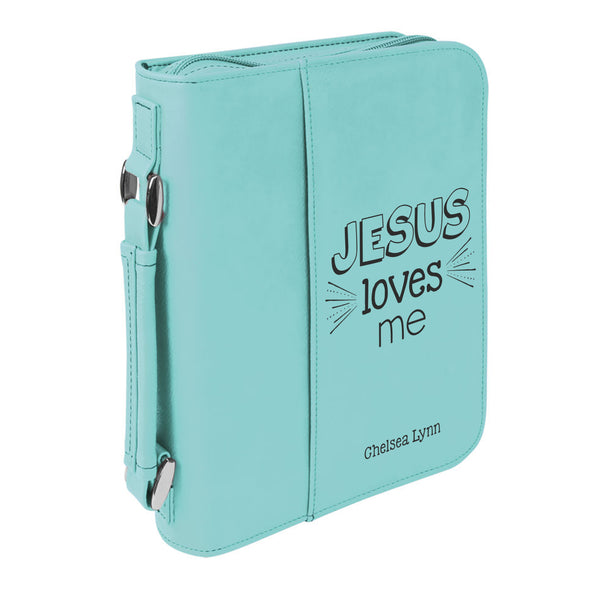 Personalized Bible Case, Jesus Loves Me, Kids' Bible Case, Zip Cover, Custom Bible Cover,  Customized Bible Cover, Engraved Bible Cover, Bible Case, Inspirational Bible Cover, Scripture Bible Case