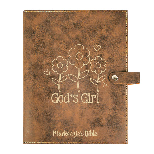 Personalized God's Girl Bible Cover, Kid's Bible,  Snap Cover, Custom Bible Cover, Customized Bible Cover, Engraved Bible Cover, Inspirational Bible Cover