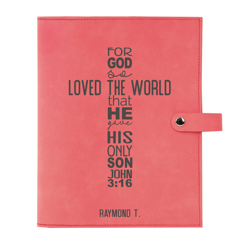 Personalized Bible Cover, John 3:16, For God So Loved the World, Snap Cover, Custom Bible Cover, Customized Bible Cover, Engraved Bible Cover, Inspirational Bible Cover