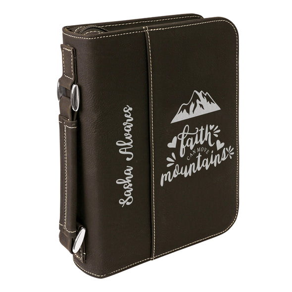 Personalized Bible Case, Faith Can Move Mountains, Zip Cover, Custom Bible Cover, Customized Bible Cover, Engraved Bible Cover, Bible Case, Inspirational Bible Cover, Scripture Bible Case
