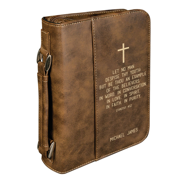 Personalized Bible Case, 1 Timothy 4:12, Boy Youth Bible Cover, Zip Cover, Custom Bible Cover, Customized Bible Cover, Engraved Bible Cover, Bible Case, Inspirational Bible Cover, Scripture Bible Case