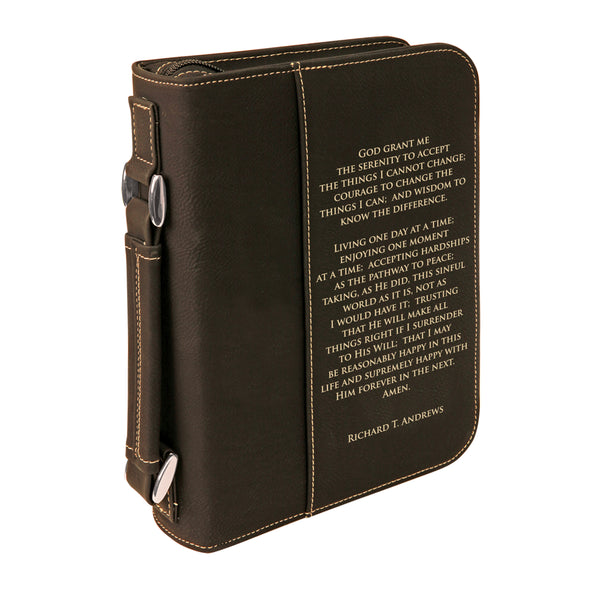 Personalized Bible Case, Serenity Prayer, Celebrate Recovery, Zip Cover, Custom Bible Cover, Customized Bible Cover, Engraved Bible Cover, Bible Case, Inspirational Bible Cover, Scripture Bible Case