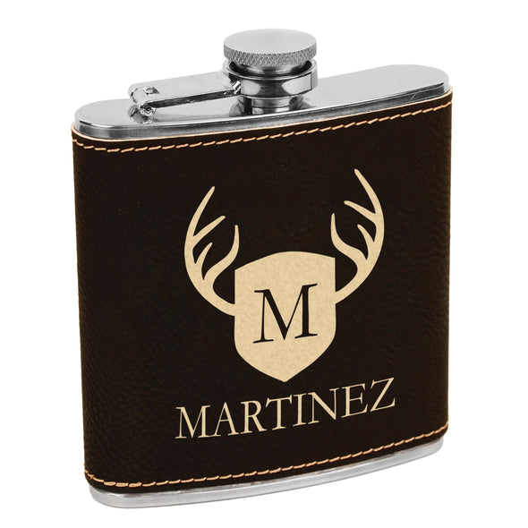 Martinez Deer Antler Flask, Shield & Antler Flask, Last Name Custom Flask, Personalized Flask