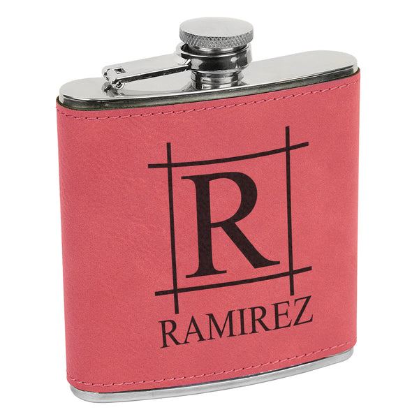 Big Initial & Name Flask, Custom Engraved Flask, Personalized Flask