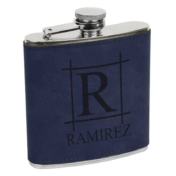 Big Initial & Name Flask, Custom Engraved Flask with Name, Custom Flask, Personalized Flask
