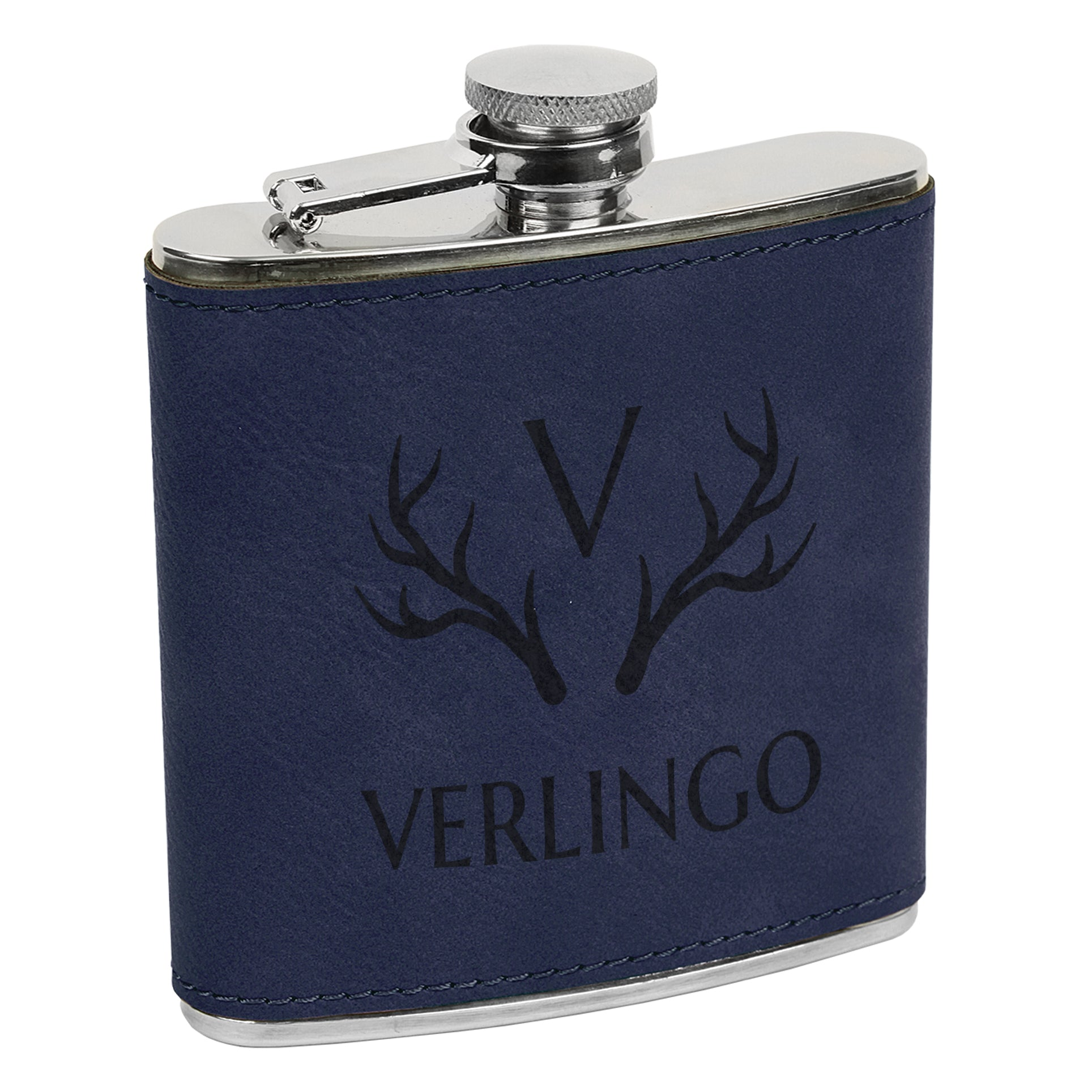 Antlers Initial Custom Engraved Flask With Last Name Custom Flask Personalized Flask