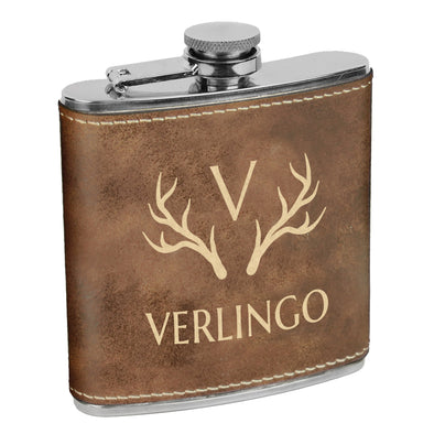 Antlers & Initial, Custom Engraved Flask with Last name, Custom Flask, Personalized Flask