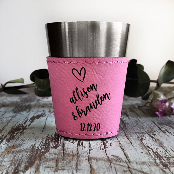 "Personalized Shot Glass, Custom Shot Glass, Wedding Favor, ""Allison & Brandon"""
