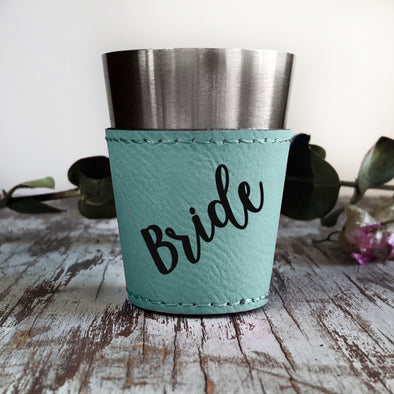 "Personalized Shot Glass, Custom Shot Glass, Wedding Favor, ""Bride"""