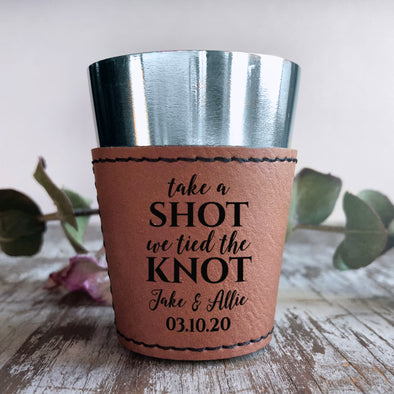"Personalized Shot Glass, Custom Shot Glass, Wedding Favor ""Jake & Allie"""