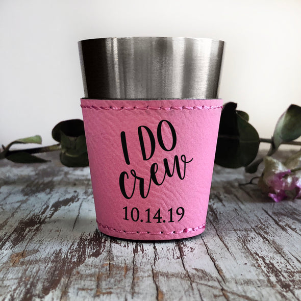"Personalized Shot Glass, Custom Shot Glass, Bridal Party Gift ""I Do Crew"""