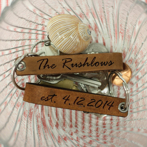 "(One) Personalized Engraved Genuine Leather Loop Key Chain - ""The Rushlows"""
