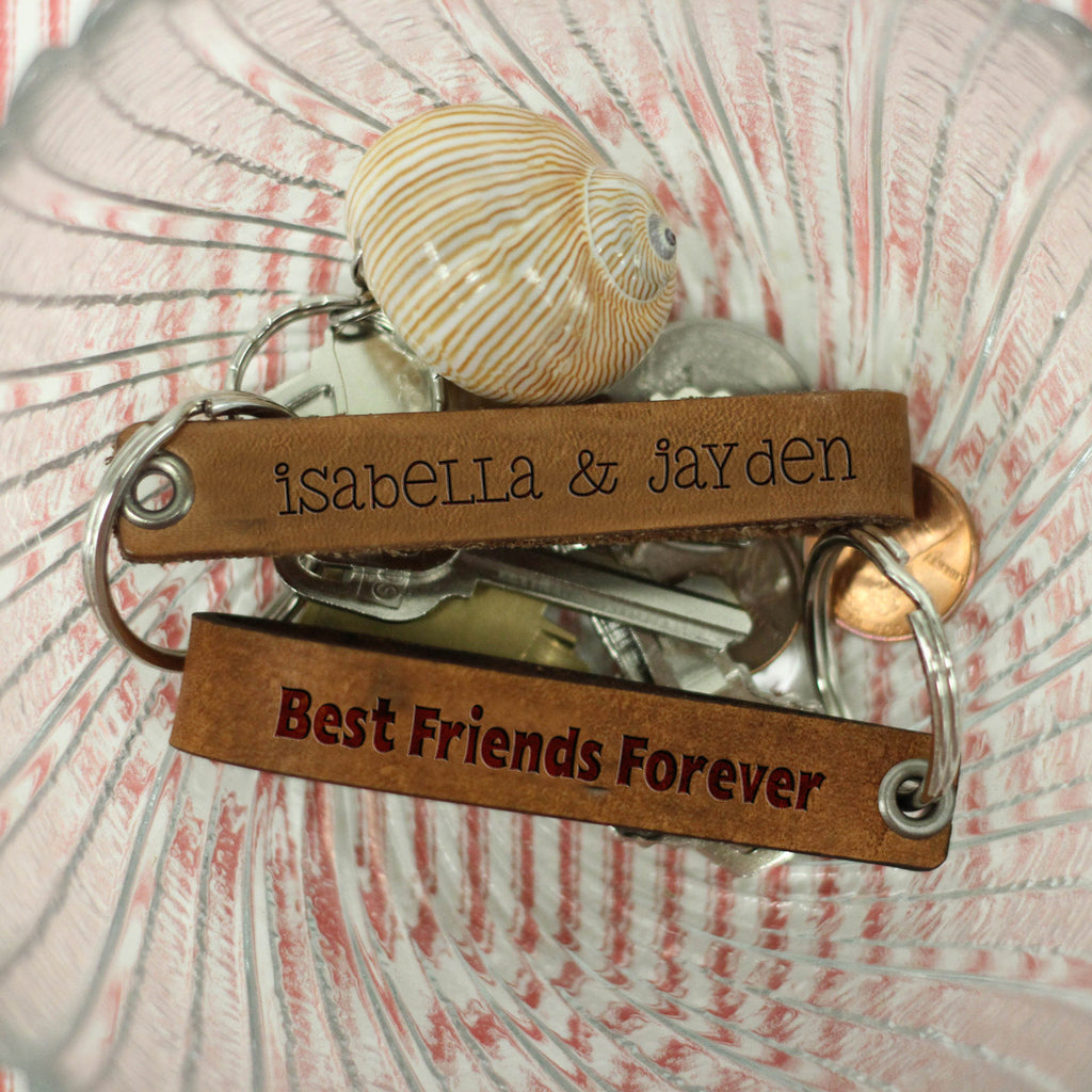 "(Set of 2) Personalized Engraved Genuine Leather Loop Key Chain - ""BFF Friendship"""