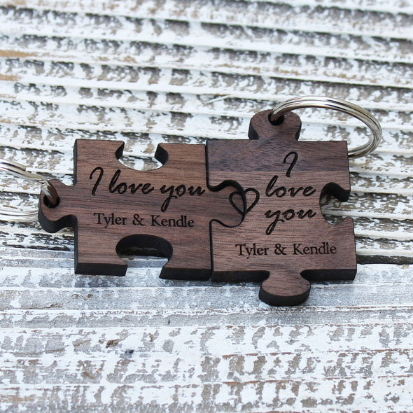 "Personalized Engraved Puzzle Pieces Key Chain Set - ""I Love You"""