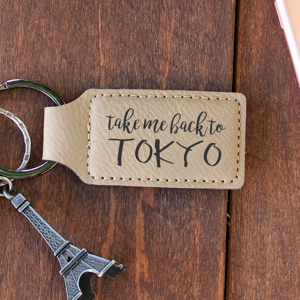 "Personalized Engraved Key Chain - ""Tokyo"""