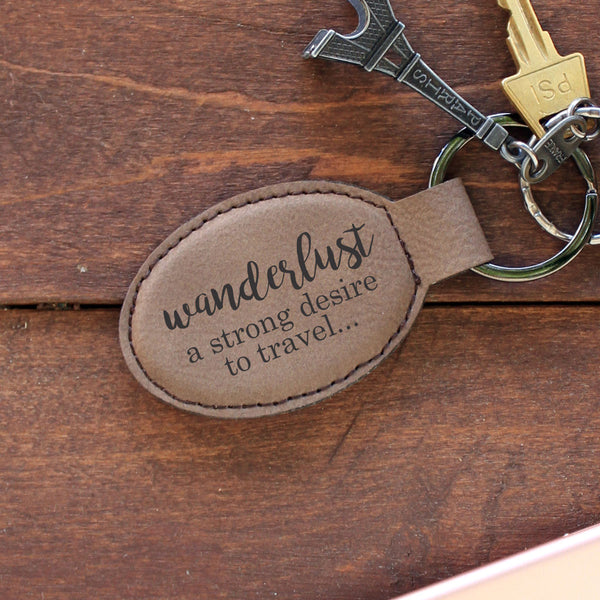 "Personalized Engraved Key Chain - ""Wanderlust"""
