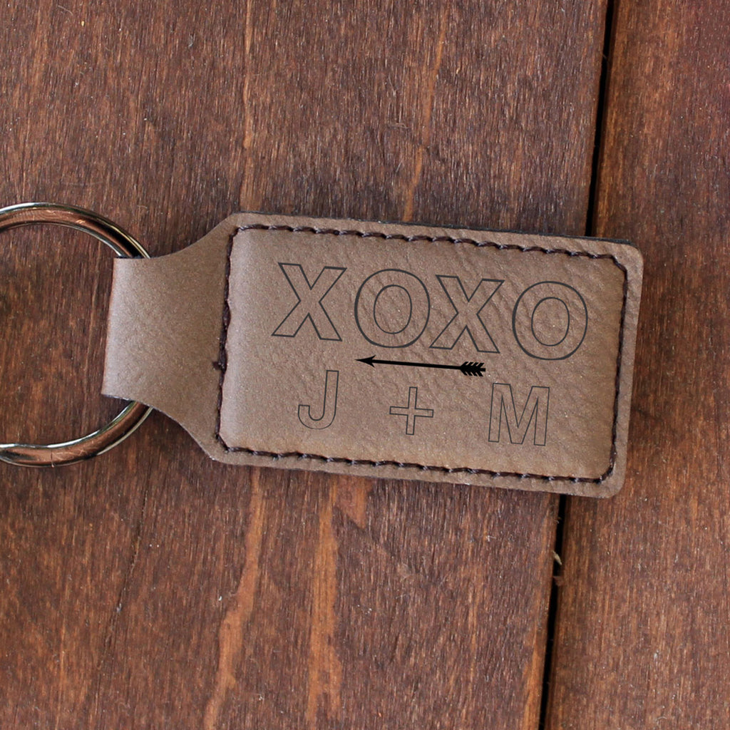 "Personalized Engraved Key Chain - ""XoXo J+M"""