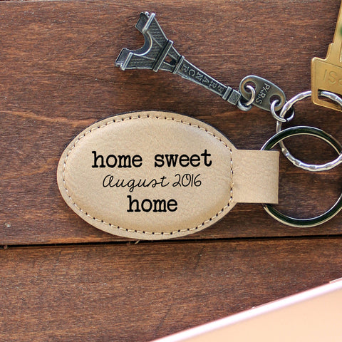 "Personalized Engraved Key Chain - ""Home Sweet Home"""