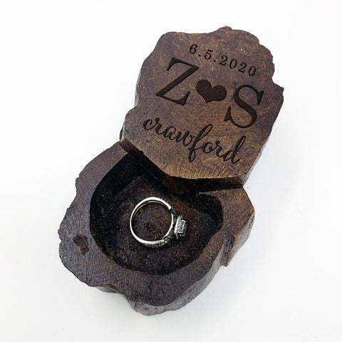 "Custom Engraved Ring Box, Wood Ring Box, Engagement Ring Box, ""Z S Crawford"""