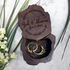 "Custom Engraved Ring Box, Wedding Wood Ring Box, Engagement Ring Box, ""Zach & Shawna"""