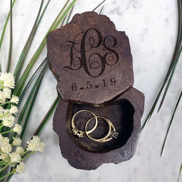 Monogram Engraved Ring Box, Custom Ring Box, Personalized Ring Box