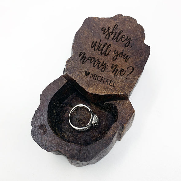 "Personalized Engraved Ring Box, Custom Rustic Wood Ring Box, Engagement Ring Box, ""Ashley Marry Me"""