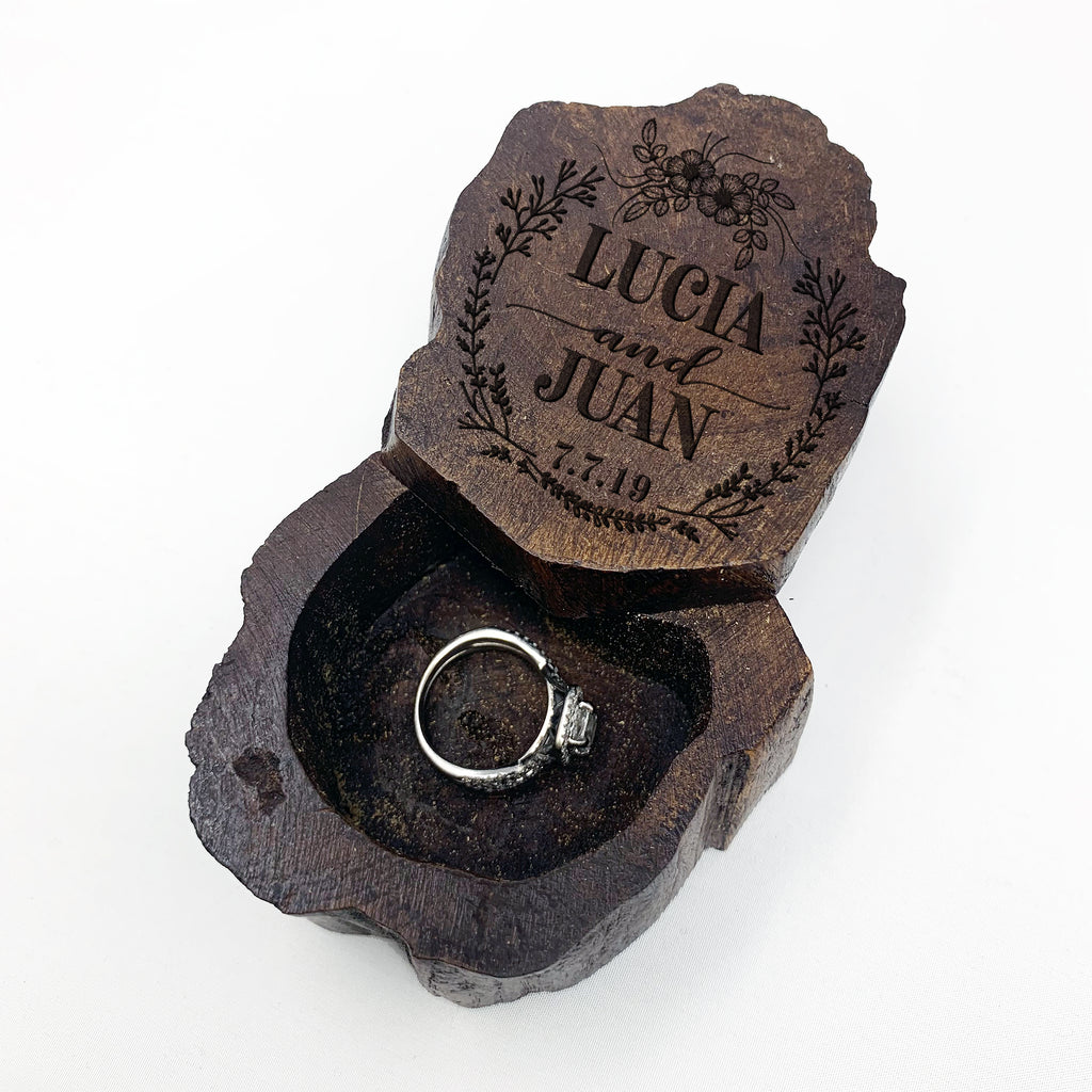 Personalized Engraved Ring Box, Custom Rustic Wood Ring Box, Engagement Ring Box
