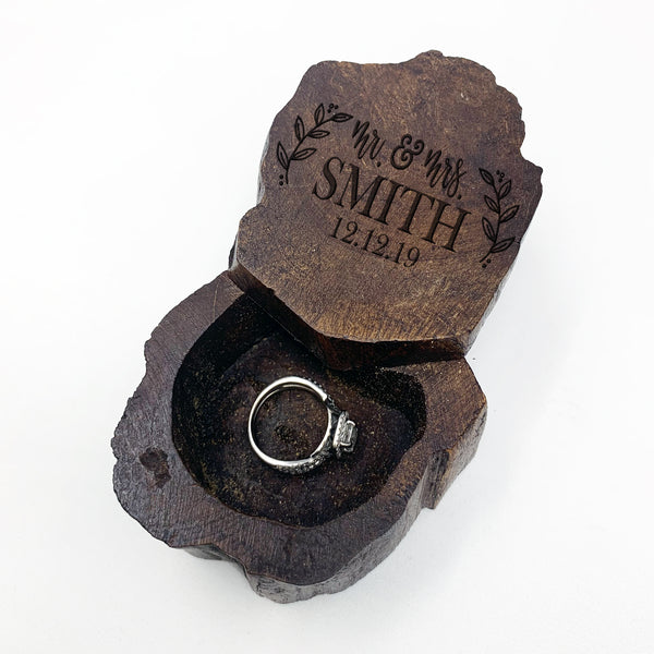 Custom Engraved Ring Box, Personalized Rustic Wood Ring Box, Engagement Ring Box