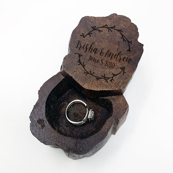 "Custom Engraved Ring Box, Personalized Rustic Wood Ring Box, Engagement Ring Box, ""Trisha & Andrew"""