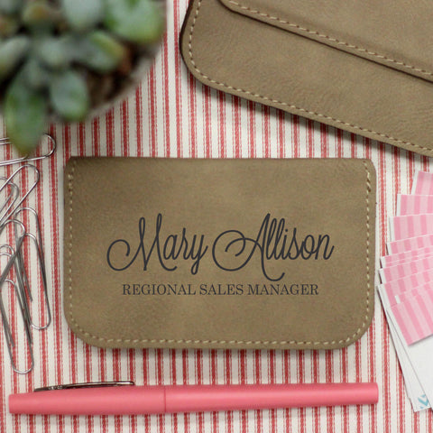 "Business Card Holder ""Mary Allison Script """